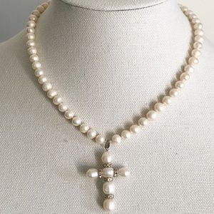 Freshwater Pearl Cross Pendant And Pearl Necklace